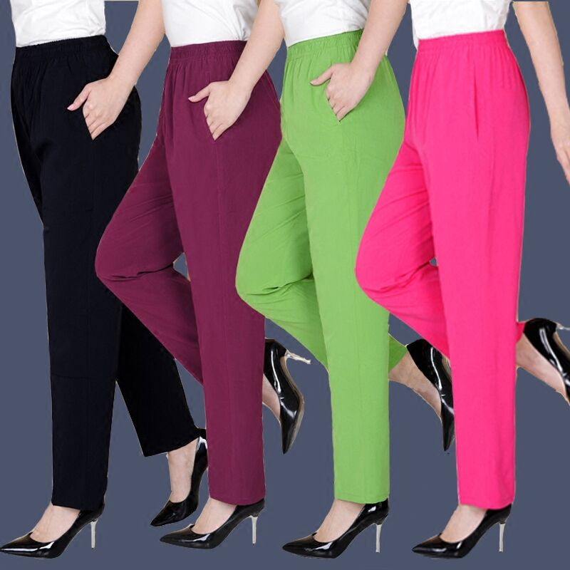 Summer thin middle-aged and elderly womens casual pants silk elastic waist quarter pants high waist cotton silk plus large loose color pants