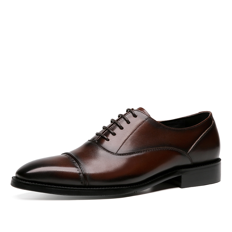 Italian mens shoes Goodyear handmade leather shoes mens British pointed lace up leather business dress monk shoes