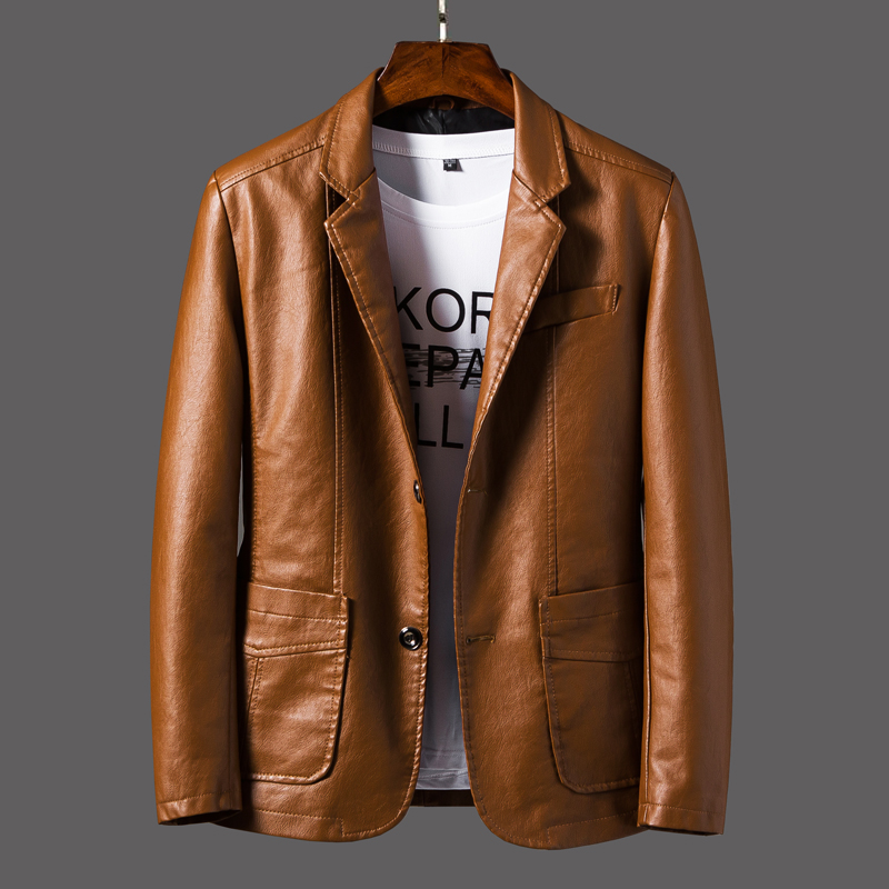 New red crown leather jacket mens fall / winter 2019 leather jacket Korean version slim fitting motorcycle clothing mens fashion, handsome and plush