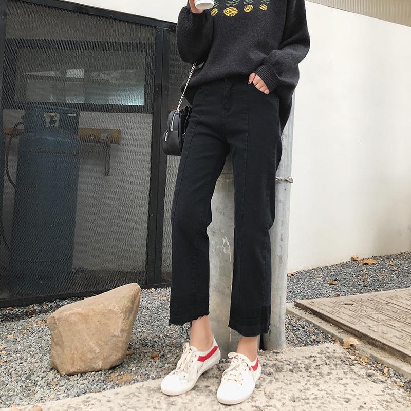 大码女装直筒牛仔裤秋季新款胖mm裤子200斤胖妹妹高腰显瘦九分裤