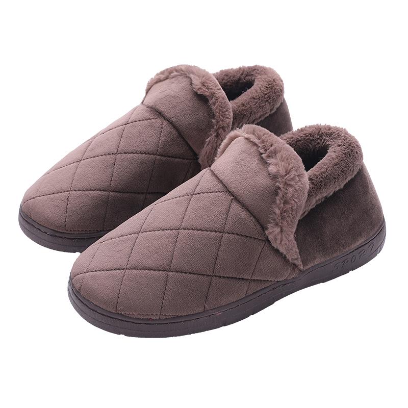 冬季家居家布艺时尚韩版舒适加大码加绒布毛加厚底防滑地板棉拖鞋