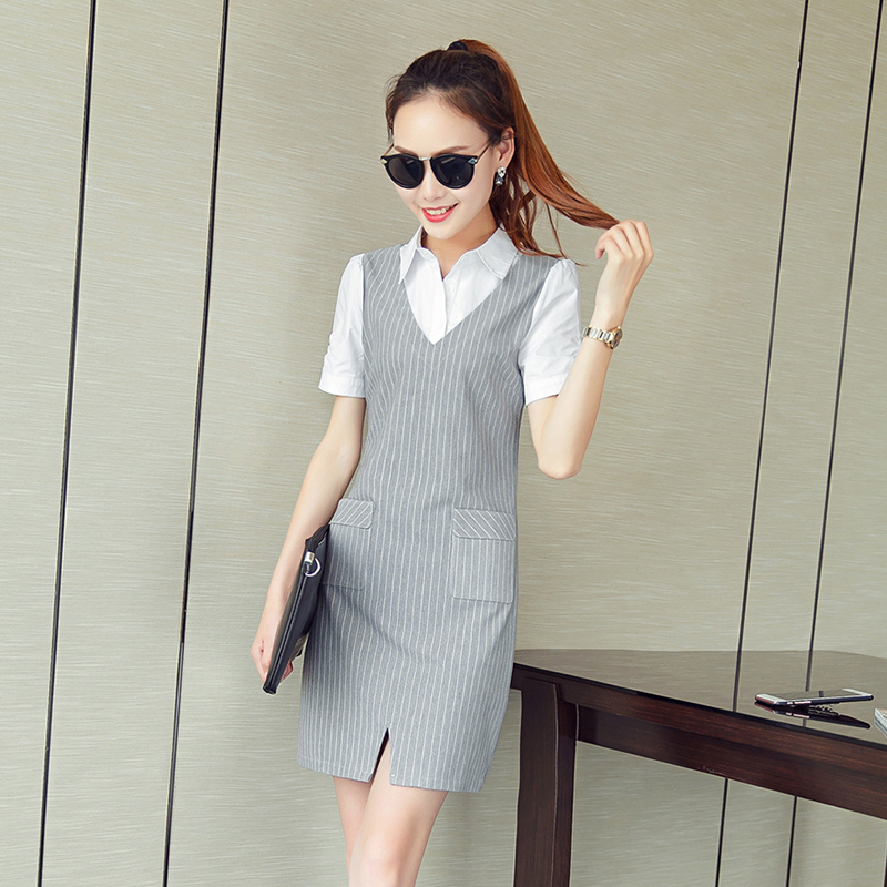 Summer new Korean shirt dress stripe slim simple splicing contrast casual two short skirts