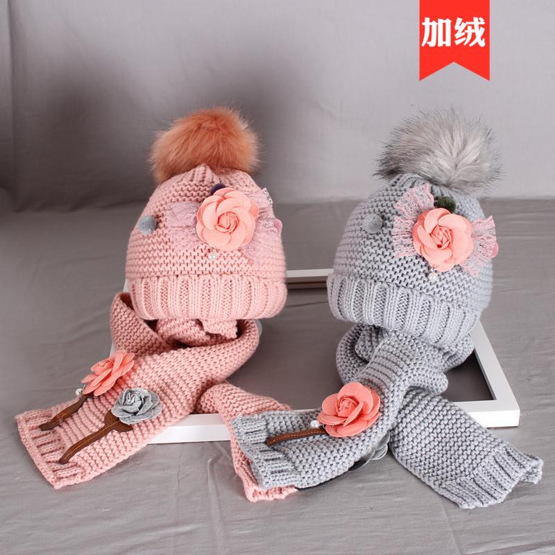 秋冬季3岁4女童5毛线帽儿童帽子