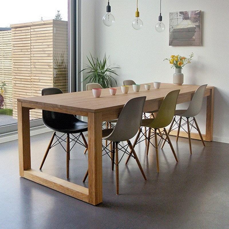 北欧实木会议桌椅组合长桌简约原木办公桌洽谈桌大型工作台长条桌