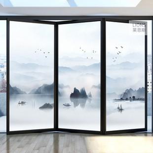 中式風景山水磨砂窗户玻璃貼紙客廳浴室陽台移門遮光免膠玻璃貼膜