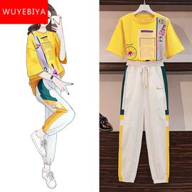 运动套装少女生夏装2020新款初中学生韩版时尚宽松休闲显瘦两件套