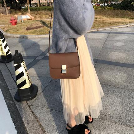 2019春季小清新半身裙女装中长款白色A字裙网红社会高腰裙子学生