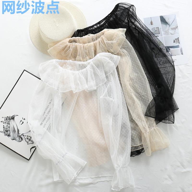 秋冬2018新款女装韩版甜美网纱蕾丝衫荷叶边内搭长袖打底衫上衣潮