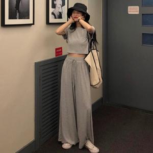 夏季短袖T恤+韩版阔腿长裤女神网红两件套小香风2019套装新款洋气