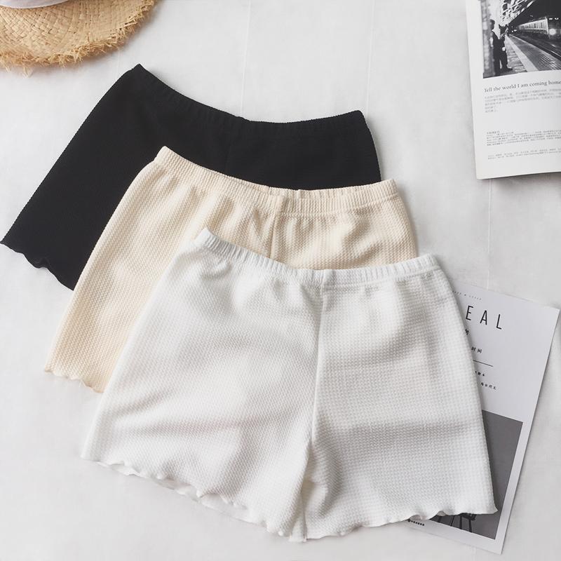 夏季韩版女装学生安全裤防走光纯色小卷边打底裤薄款保险短裤子潮