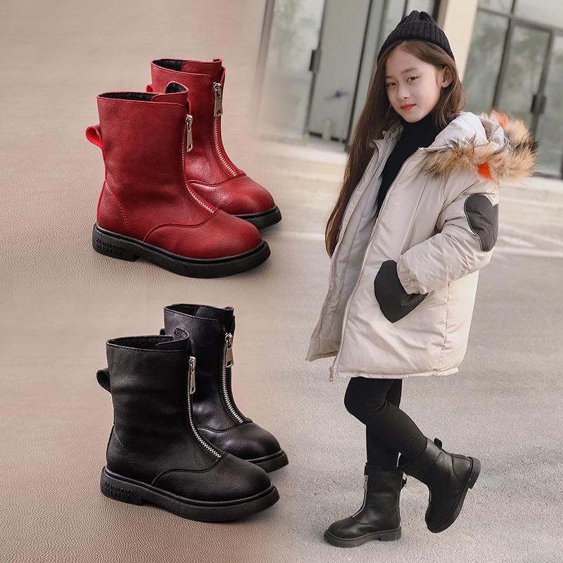 女童鞋儿童马丁靴子2019年新款冬季中筒靴短靴加绒小女孩洋气时尚