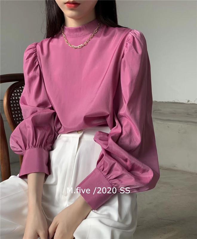 M.five新款网红春季韩国复古设计气质百搭半高领衬衫上衣女光泽感