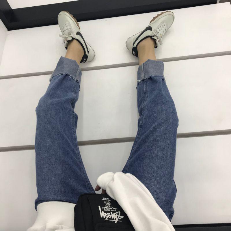 @ZEROZEROHOU 秋款直筒翻边牛仔长裤女高腰显瘦阔腿裤修身款推荐