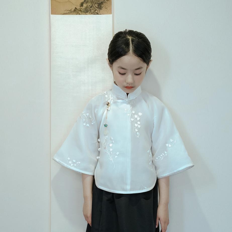 限时赏味原创旗袍儿童复古日常可穿古法原创碎花倒大袖上衣