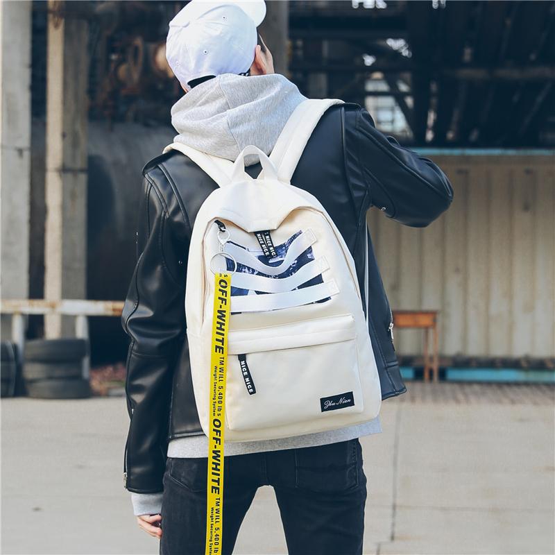 书包男生韩版原宿初中生高中学生双肩包街拍时尚潮流校园帆布背包