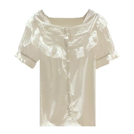 白色雪纺衫女短袖2019新款夏季衬衫