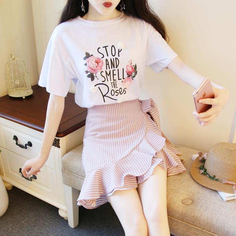 韩版立体花字母短袖T恤套装裙荷叶边不规则半身裙时尚两件套