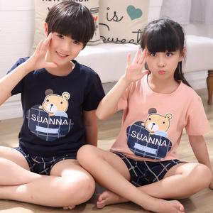 睡美人马来西亚男童女童睡衣夏短袖亲子睡衣可爱母女装纯棉一家三口家庭儿童睡衣(单套价格 大人款+10元)