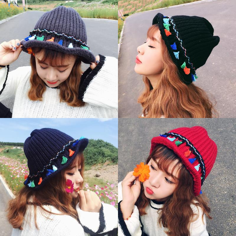 (用10元券)韩版秋冬天流苏加厚潮黑色毛线帽子