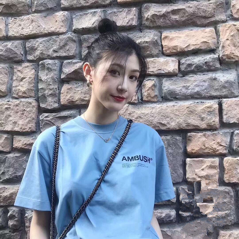 日本潮牌AMBUSH短袖T恤正品18AW T-SHIRT胸前字母LOGO吴亦凡男女