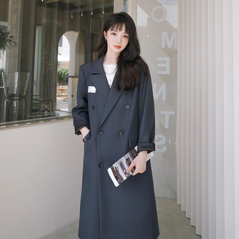 2021秋季新款炸街灰色小西装宽松休闲中长款双排扣显瘦风衣外套女