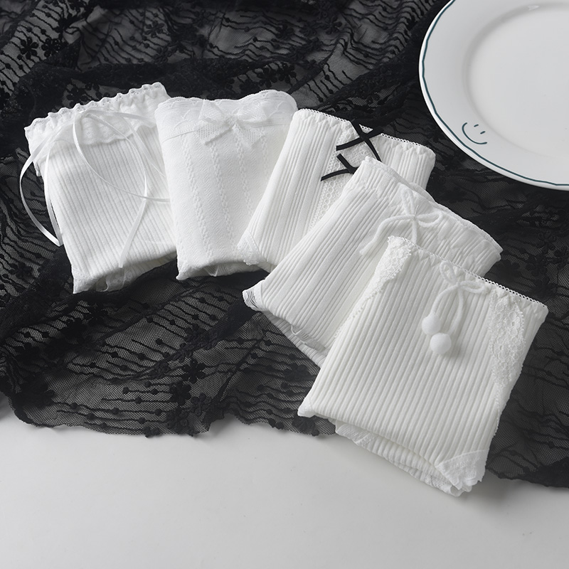 5条夏 白色内裤女纯棉日系可爱蝴蝶结中腰少女学生大码透气三角裤