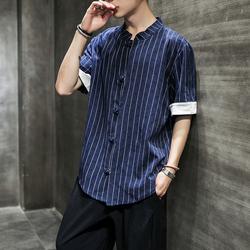 中国风男装短袖亚麻衬衫中式棉麻条纹提花衬衣QT6020-C622-P40