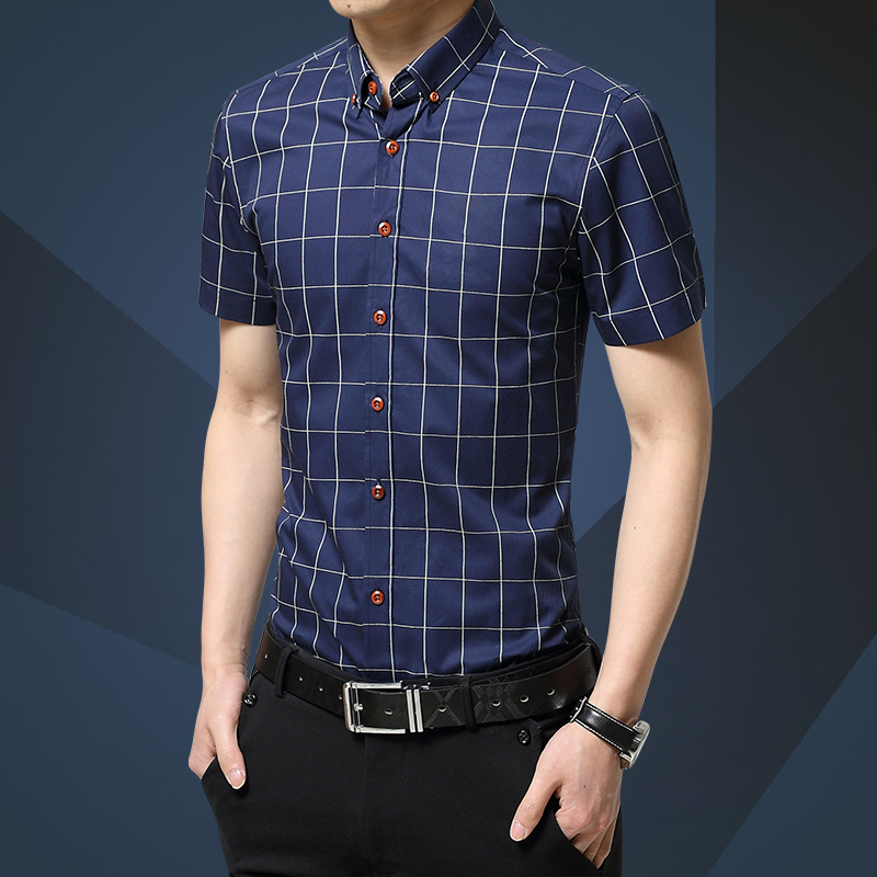 2020 new summer short sleeve shirt men business slim mens shirt formal casual youth top