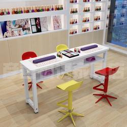美甲桌简约现代双人桌椅套装单人小型简易美甲桌子双层特价经济型