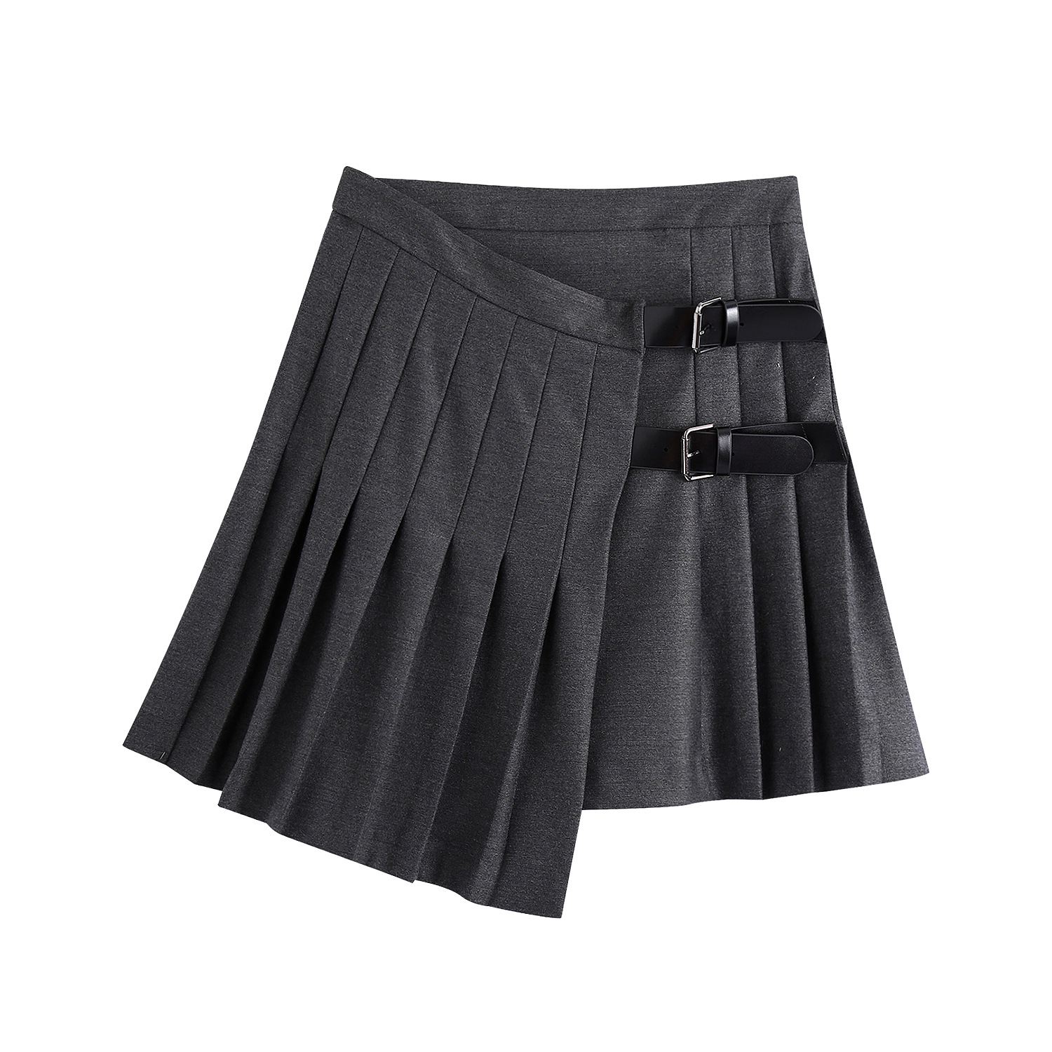 Popular in foreign trade autumn new European and American style wide pleated irregular fashion versatile mini skirt 4886264