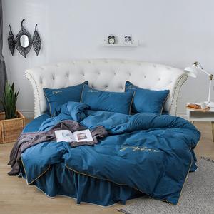 全棉圆床四件套纯棉园的床罩被套床笠圆形床裙式床单套件床上用品