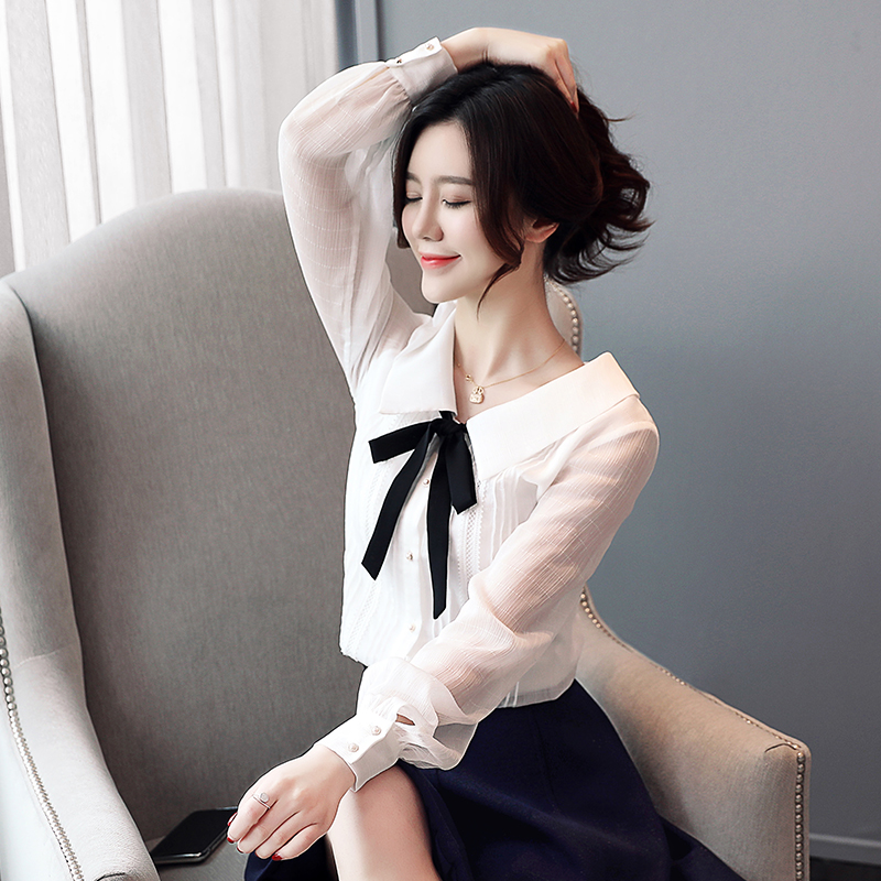 春季新款白色娃娃领雪纺衫衣女2019小视频实拍