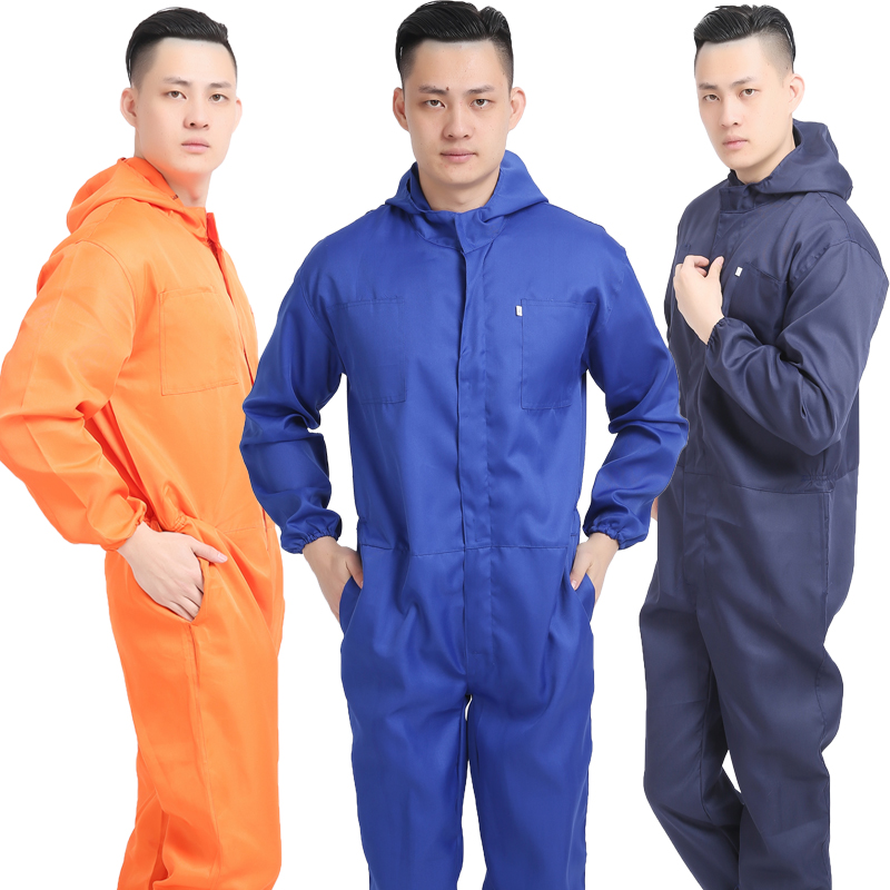 Summer thin one-piece protective clothing mens hooded auto repair factory labor protection tooling spray painting workshop isolation dust-proof clothing