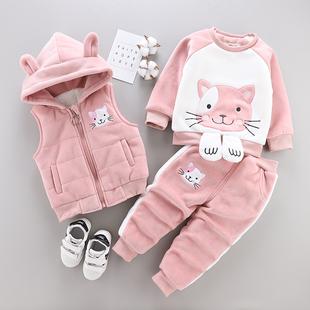 女童裝秋冬款三件套裝嬰兒童純棉小孩衣服寶寶冬裝0-1-2歲外套3潮