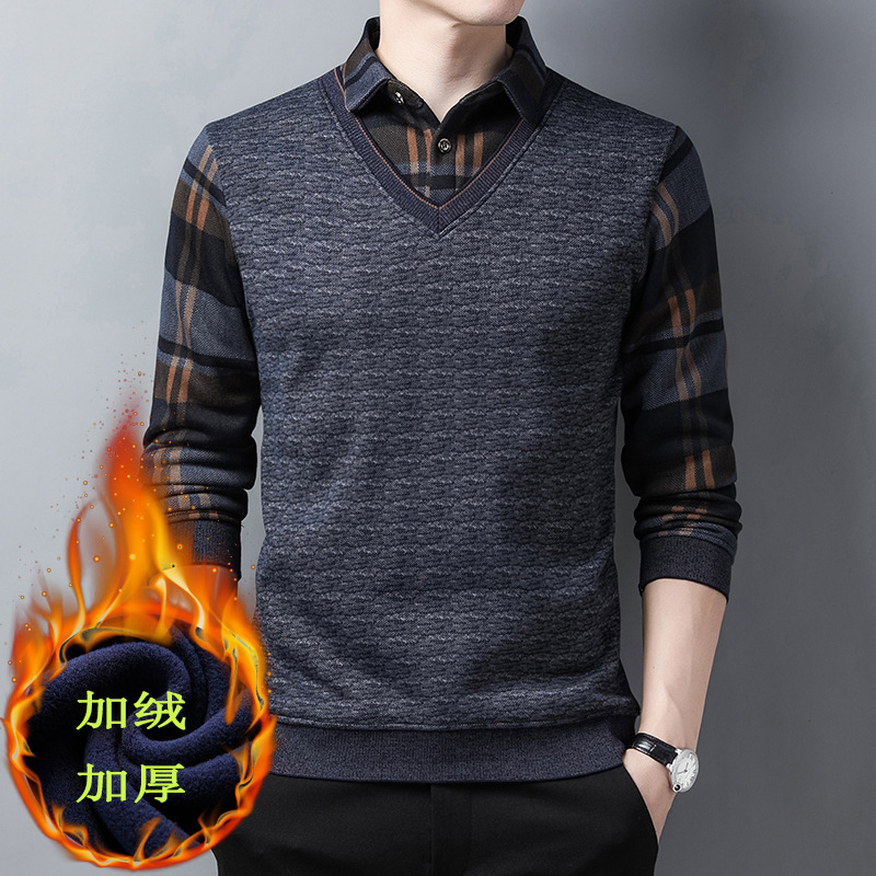 2020 new mens T-shirt casual Plush thickening fake two coats winter middle-aged loose sweater shirt