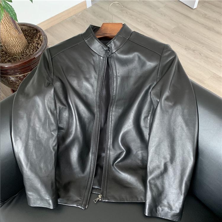 ODM公司单!绵羊皮!超细腻!秋冬新款男士高端真皮皮衣夹克外套