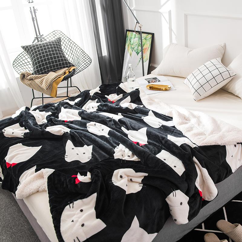新款四季印花仿羊羔绒毯 双面毛毯盖毯单人双人午休保暖卡通毛毯