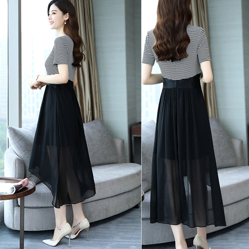 Womens summer clothing brand chiffon dress short sleeve womens middle length 2018 new summer clothing counter