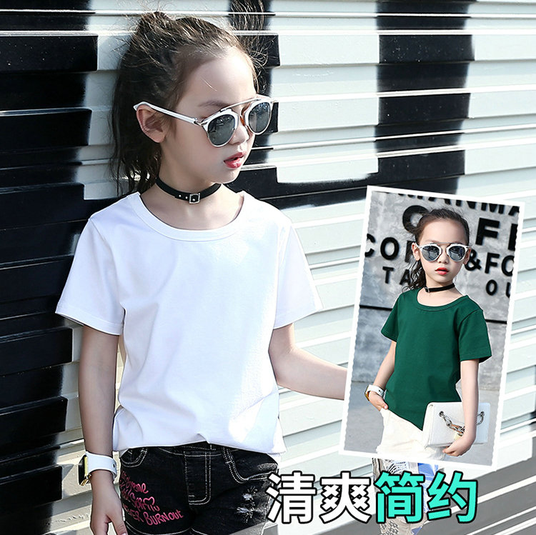 Girls short sleeve T-shirt 2020 new 12-year-old girls summer wear childrens half sleeve T-shirt White 8 pure cotton 15 years old