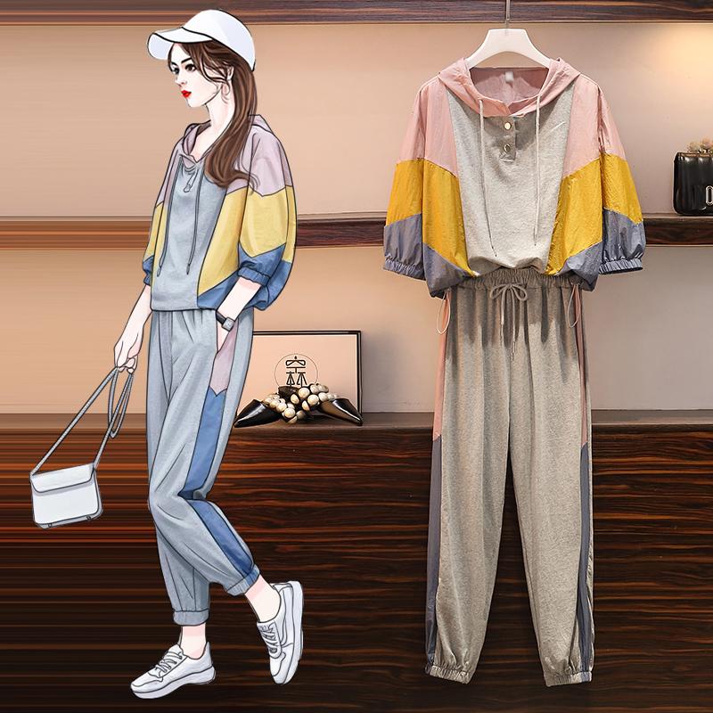 大碼女裝2020年夏季新款套裝時尚韓版顯瘦胖mm短袖T恤褲子兩件套