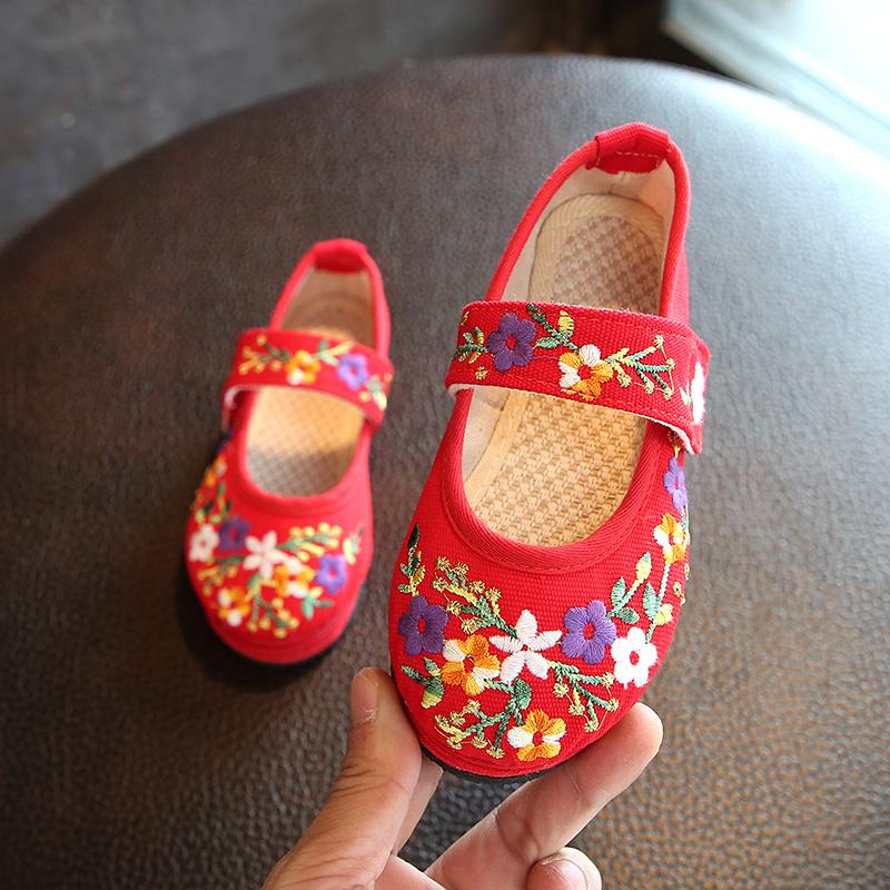 新品老北京儿童手工千层底鞋女童绣花鞋公主鞋帆布鞋宝宝舞蹈鞋潮