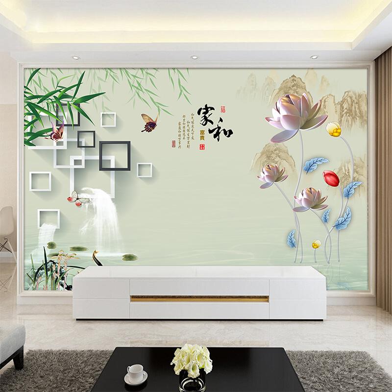 5d电视背景墙壁画家和现代简约客厅大气墙纸3d装饰8d壁纸无缝墙布