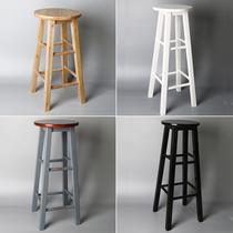 实木吧台椅复古酒吧凳子前台椅子拍照创意美式高脚吧凳圆凳