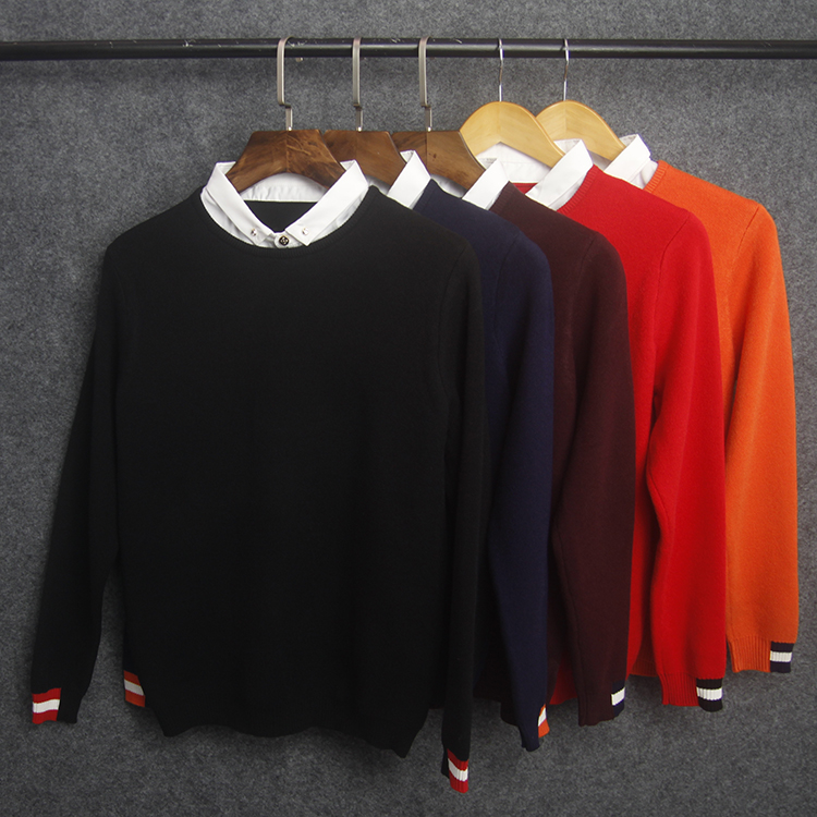 Autumn / winter 2020 Pullover lead solid color fake 2-piece sweater knitted mens false collar mens shirt collar round neck top