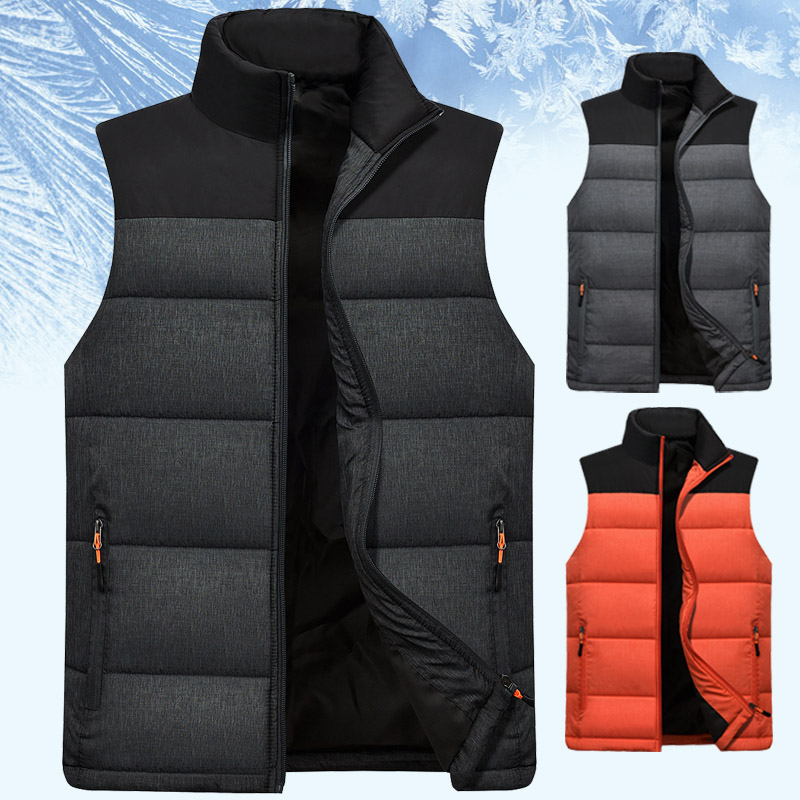 Autumn and winter vest, mens cantilevered, sleeveless and plush vest, mens warm cotton vest, fathers jacket for middle-aged and old people