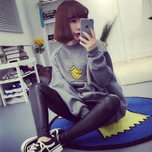 Korean autumn and winter blouse large size girlfriends loaded Harajuku female fat mm long-sleeved sweater coat primer shirt student