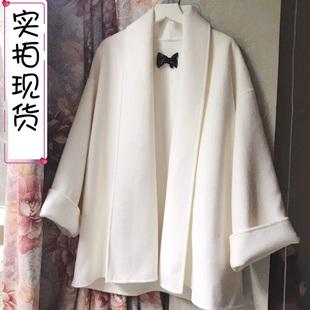 特价清仓 全羊毛 白色大衣女2020流行短款双面呢小个子毛呢外套