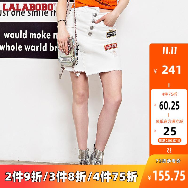 LALABOBO 夏季新款不对称设计牛仔短裙|L02B-WXNQ15