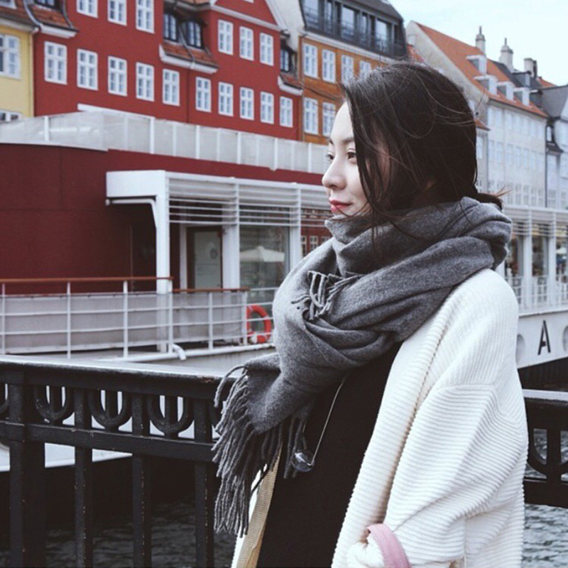 Thickened cashmere scarf for womens winter Korean version