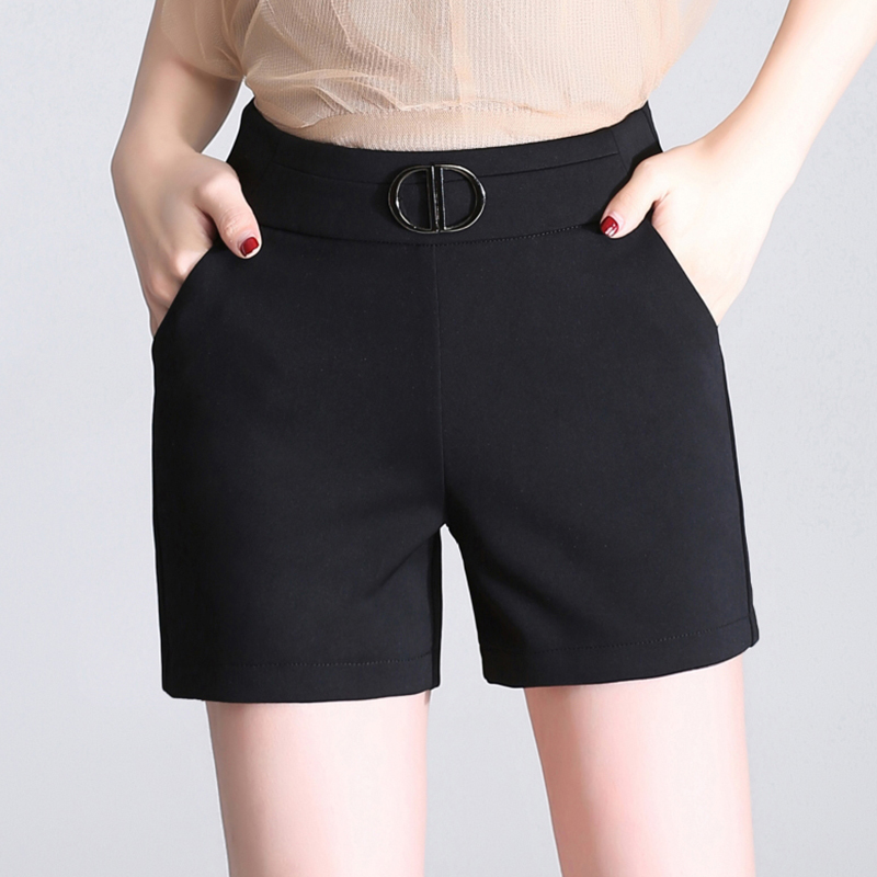 Suit Shorts womens summer 2019 new spring and autumn black versatile slim casual high waisted oversized shorts